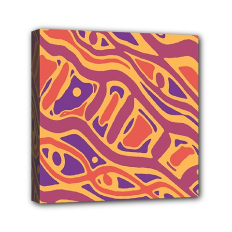 Orange Decorative Abstract Art Mini Canvas 6  X 6  by Valentinaart