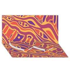 Orange Decorative Abstract Art Twin Heart Bottom 3d Greeting Card (8x4) by Valentinaart