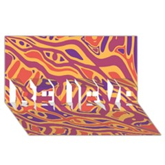 Orange Decorative Abstract Art Believe 3d Greeting Card (8x4) by Valentinaart