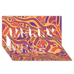 Orange Decorative Abstract Art Merry Xmas 3d Greeting Card (8x4) by Valentinaart