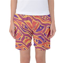 Orange Decorative Abstract Art Women s Basketball Shorts by Valentinaart