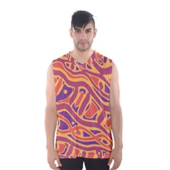 Orange Decorative Abstract Art Men s Basketball Tank Top by Valentinaart