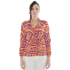 Orange Decorative Abstract Art Wind Breaker (women) by Valentinaart