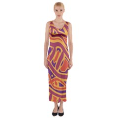 Orange Decorative Abstract Art Fitted Maxi Dress by Valentinaart