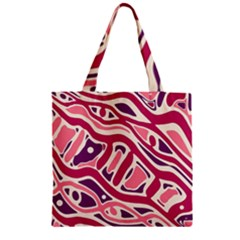 Pink And Purple Abstract Art Zipper Grocery Tote Bag by Valentinaart