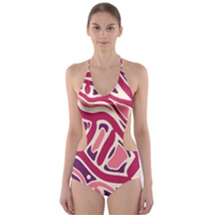 Pink And Purple Abstract Art Cut-out One Piece Swimsuit by Valentinaart