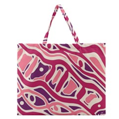 Pink And Purple Abstract Art Zipper Large Tote Bag by Valentinaart