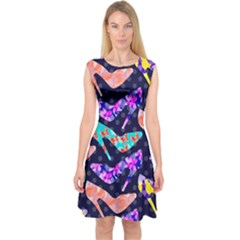 Colorful High Heels Pattern Capsleeve Midi Dress