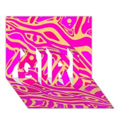 Pink Abstract Art Girl 3d Greeting Card (7x5) by Valentinaart
