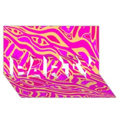 Pink Abstract Art Party 3d Greeting Card (8x4) by Valentinaart