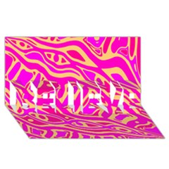 Pink Abstract Art Believe 3d Greeting Card (8x4) by Valentinaart