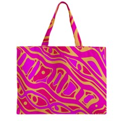 Pink Abstract Art Zipper Mini Tote Bag by Valentinaart