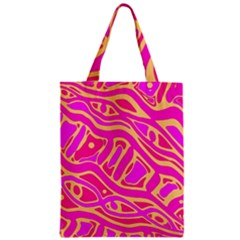 Pink Abstract Art Zipper Classic Tote Bag by Valentinaart