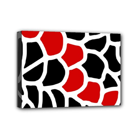 Red, Black And White Abstraction Mini Canvas 7  X 5  by Valentinaart