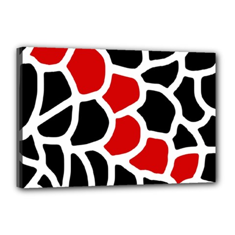 Red, Black And White Abstraction Canvas 18  X 12  by Valentinaart