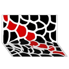 Red, Black And White Abstraction Twin Heart Bottom 3d Greeting Card (8x4)