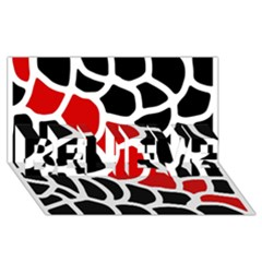 Red, Black And White Abstraction Believe 3d Greeting Card (8x4) by Valentinaart