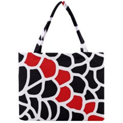 Red, Black And White Abstraction Mini Tote Bag by Valentinaart