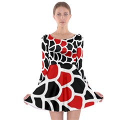 Red, Black And White Abstraction Long Sleeve Skater Dress by Valentinaart