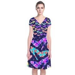 Colorful High Heels Pattern Short Sleeve Front Wrap Dress