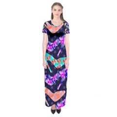Colorful High Heels Pattern Short Sleeve Maxi Dress