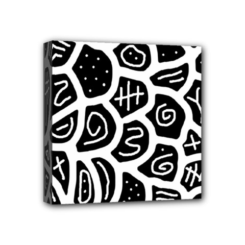 Black And White Playful Design Mini Canvas 4  X 4  by Valentinaart