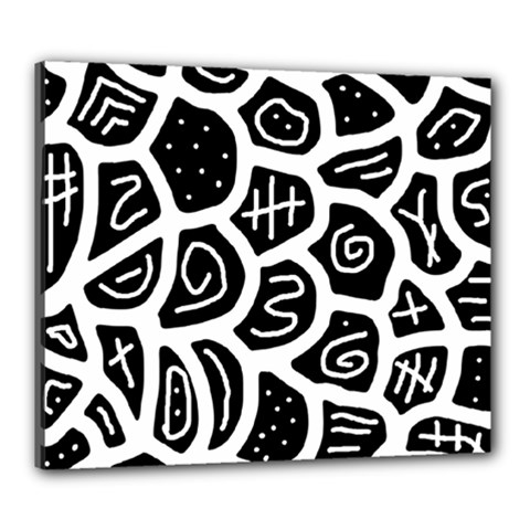 Black And White Playful Design Canvas 24  X 20  by Valentinaart