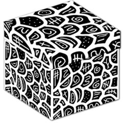 Black And White Playful Design Storage Stool 12   by Valentinaart