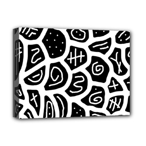 Black And White Playful Design Deluxe Canvas 16  X 12   by Valentinaart