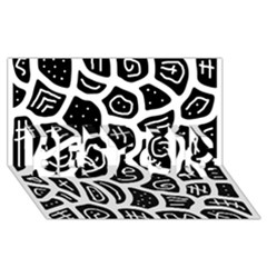 Black And White Playful Design Best Sis 3d Greeting Card (8x4) by Valentinaart