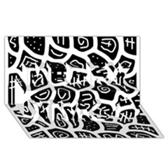 Black And White Playful Design Merry Xmas 3d Greeting Card (8x4) by Valentinaart