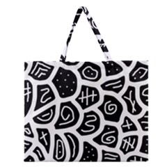 Black And White Playful Design Zipper Large Tote Bag by Valentinaart