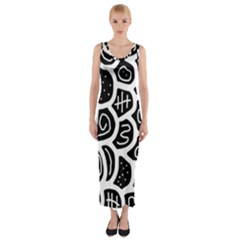 Black And White Playful Design Fitted Maxi Dress by Valentinaart