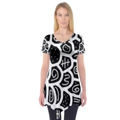 Black And White Playful Design Short Sleeve Tunic  by Valentinaart