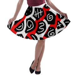 Red Playful Design A Line Skater Skirt by Valentinaart
