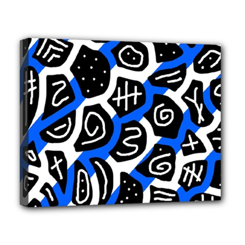 Blue Playful Design Deluxe Canvas 20  X 16   by Valentinaart