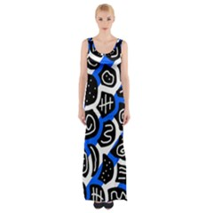 Blue Playful Design Maxi Thigh Split Dress