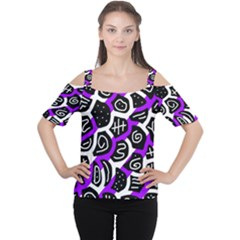 Purple Playful Design Women s Cutout Shoulder Tee by Valentinaart