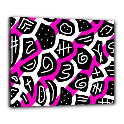 Magenta Playful Design Canvas 20  X 16  by Valentinaart