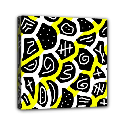 Yellow Playful Design Mini Canvas 6  X 6  by Valentinaart