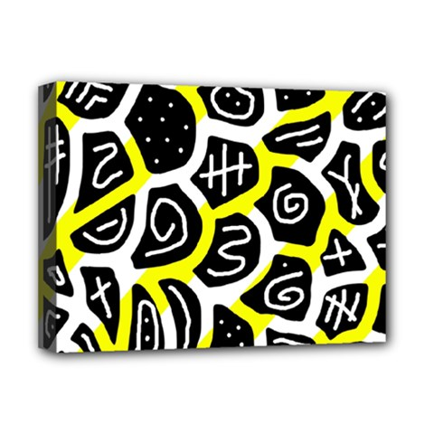 Yellow Playful Design Deluxe Canvas 16  X 12   by Valentinaart