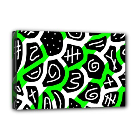Green Playful Design Deluxe Canvas 18  X 12   by Valentinaart
