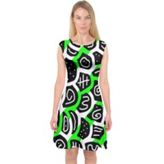 Green Playful Design Capsleeve Midi Dress by Valentinaart