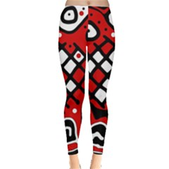 Red High Art Abstraction Leggings  by Valentinaart
