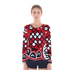 Red High Art Abstraction Women s Long Sleeve Tee by Valentinaart