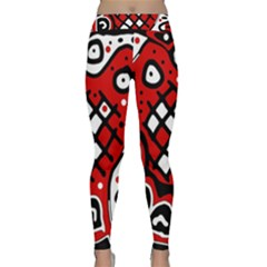 Red High Art Abstraction Yoga Leggings  by Valentinaart