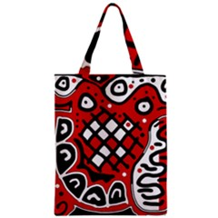 Red High Art Abstraction Zipper Classic Tote Bag by Valentinaart