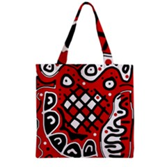 Red High Art Abstraction Grocery Tote Bag by Valentinaart