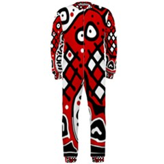 Red High Art Abstraction Onepiece Jumpsuit (men)  by Valentinaart