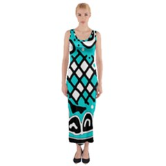 Cyan High Art Abstraction Fitted Maxi Dress by Valentinaart